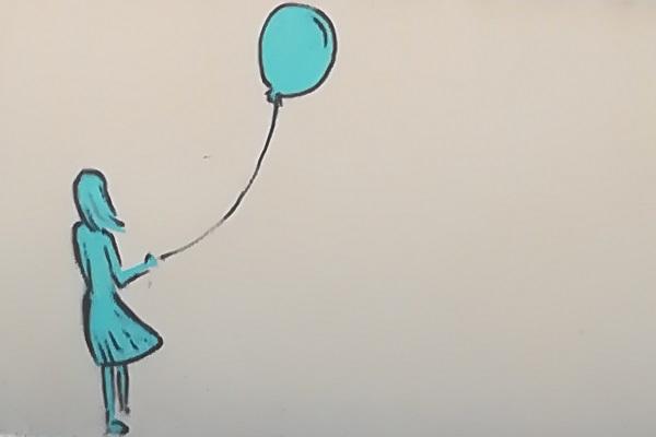 tegning af pige som slipper en ballon
